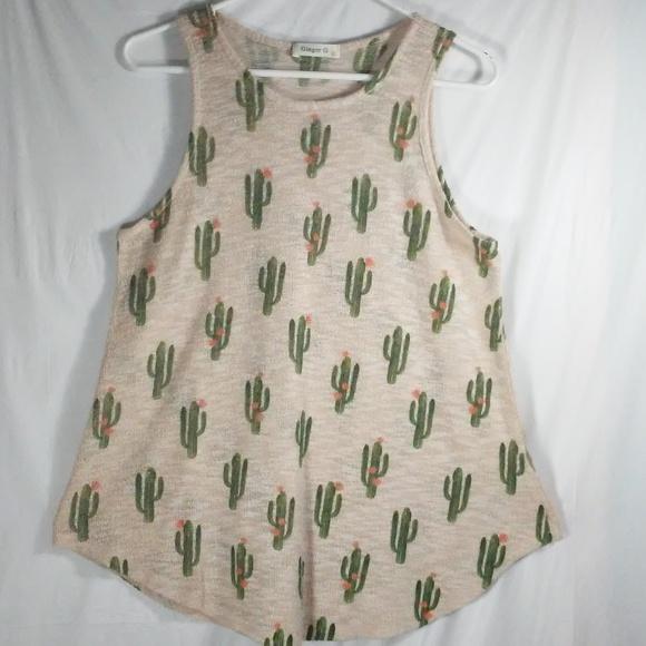 81389489ddcd50 Ginger G Tops - 🙂 Ginger G Cactus Print Tan Tank Top
